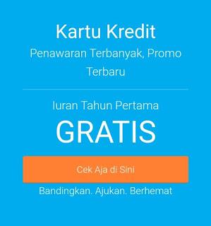 Kartu kredit dalam menu situs cekaja