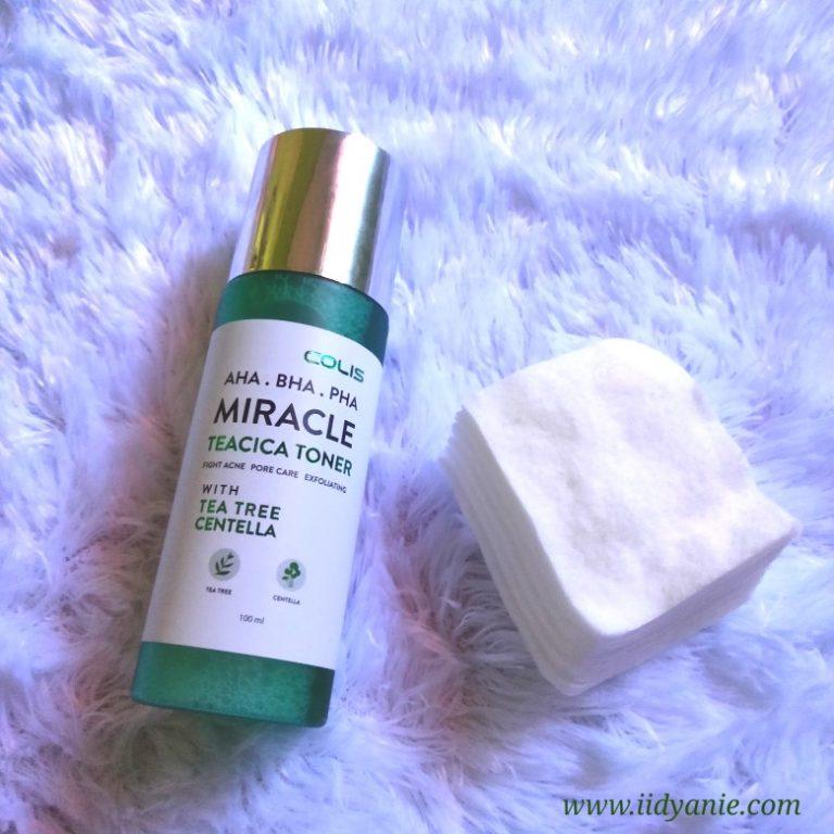 review dan manfaat pemakaian COLIS miracle teacica toner untuk kulit berjerawat